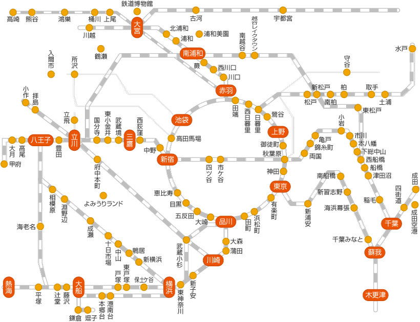 Kanto area route map
